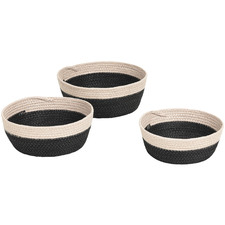 3 Piece Black & Cream Woven Paper Rope Bowls