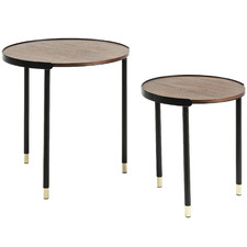 2 Piece Walnut & Black Round Valerie Nesting Tables Set