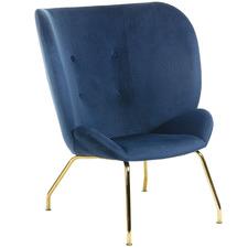 Blue & Gold Marta Velvet Armchair