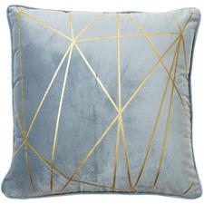 Light Blue & Gold Gala Velvet Cushion