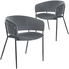 Modern Amon Velvet Dining Chairs (Set of 2)