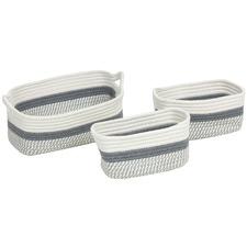 3 Piece Iris Cotton-Blend Basket Set