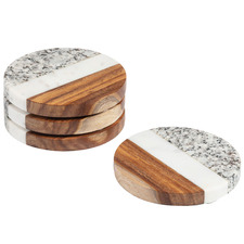 Shereen Marble & Wood Coasters (Set of 4)