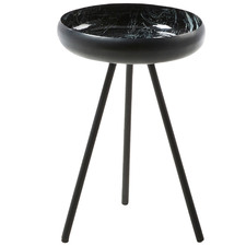 Black Marbled Ramon Metal Side Table