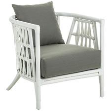 White Sheldon Rattan Armchair