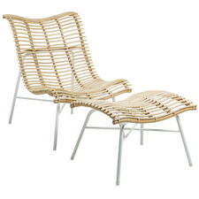 Natural Krista Rattan Lounge Chair with Footstool