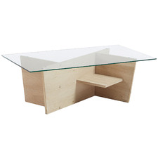 Marta Glass & Oak Wood Coffee Table