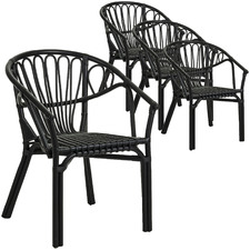 Terrance Stackable Rattan Dining Chairs (Set of 4)