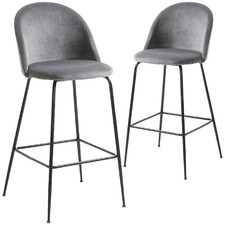 65cm Grey Colette Black Leg Velvet Barstools (Set of 2)