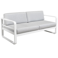 2 Seater White Elara Fabric Outdoor Sofa