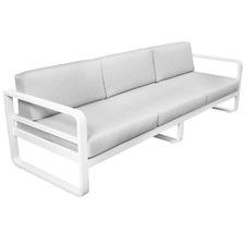 3 Seater White Elara Fabric Outdoor Sofa