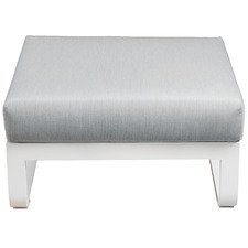 White Elara Fabric Outdoor Ottoman