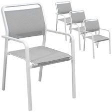 White Elara Aluminium Outdoor Dining Chairs with Arms (Set of 4)