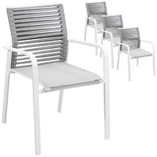 White Elara Rope Outdoor Dining Chairs with Arms (Set of 4)