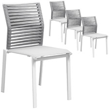 White Elara Rope Outdoor Dining Chairs (Set of 4)