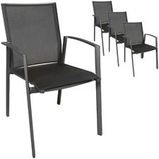 Anthracite Trosa Aluminium Outdoor Dining Chair with Arms (Set of 4)