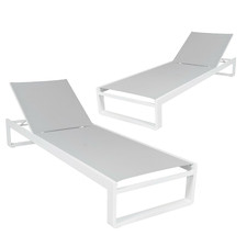 White Elara Aluminium Sun Lounges (Set of 2)