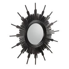 Black Jannicke Rattan Mirror