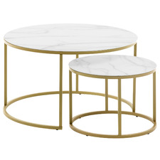 2 Piece Torlef Faux Marble Nesting Side Table Set