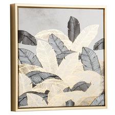 Grey & Gold Radzim Leaves Framed Canvas Wall Art