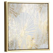 Gold Radzim Leaves Framed Canvas Wall Art