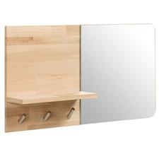 Honder Oak Wood Wall Hanger with Mirror
