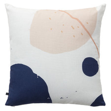 White & Pink Circles Mowdi Cotton Cushion