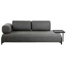 Sigrun 3 Seater Upholstered Sofa with Tray Table