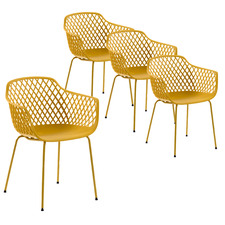 Gertrude Metal & Plastic Tub Dining Chairs (Set of 4)