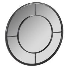 Black Darson Round Metal Wall Mirror