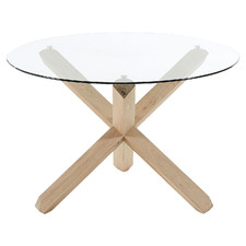Nafisa Round Glass-Top Dining Table