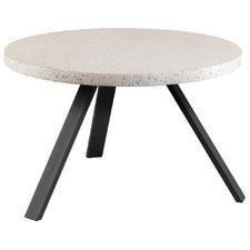 White Ingrid Round Terrazzo-Top Dining Table