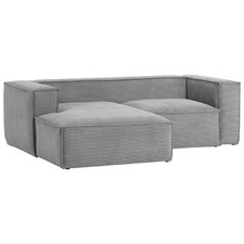 Grey Dudley 2 Seater Velveteen Sofa with Left Chaise