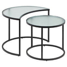2 Piece Bailey Glass-Top Nesting Side Table Set