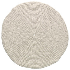 White Eileen Hand-Knotted Wool Round Rug