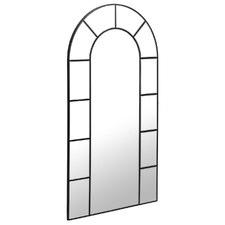 Black Minna Arched Metal Window Mirror