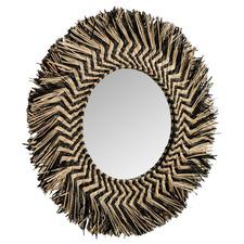 Black & Natural Bandan Round Wall Mirror