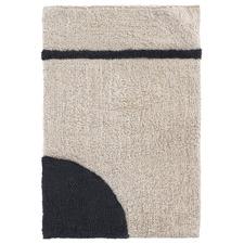 Beige & Black Micca Geometry Cotton Bathroom Mat