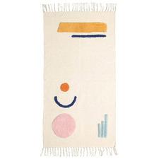 Beige Kaycee Geometric Hand-Woven Cotton Rug