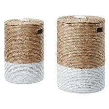 2 Piece Natural Pamela Water Hyacinth Laundry Basket Set