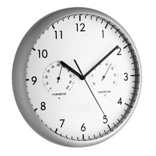 26.5cm Wall Clock with Thermometer and Hygrometer