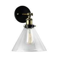 Clear Glass Funnel Filament Wall Light