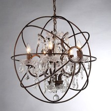 Foucault's Orb Crystal Chandelier Rustic Iron Replica