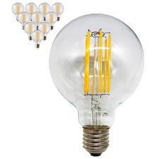 6W G95 Filament LED E27 Bulbs (Set of 10)