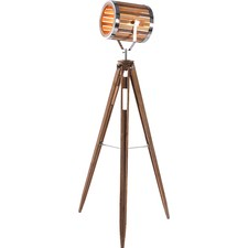 Una Natural Wooden Large Floor Lamp