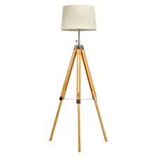 Light Oak Bamboo Tripod Floor Lamp