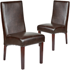 Dark Brown Eva Recycled Leather Dining Chairs (Set of 2)