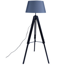 Black & Grey Cerise Wooden Tripod Floor Lamp