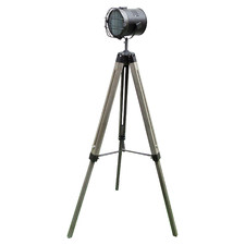 Navvel Metal & Wood Tripod Floor Lamp