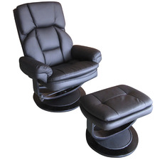 Granch Faux Leather Reclining Chair with Footstool